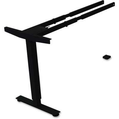 24 in. x 44 in. x 24 in. Black 2-Tier Sit/Stand Desk Silver Third-leg Add-on Kit