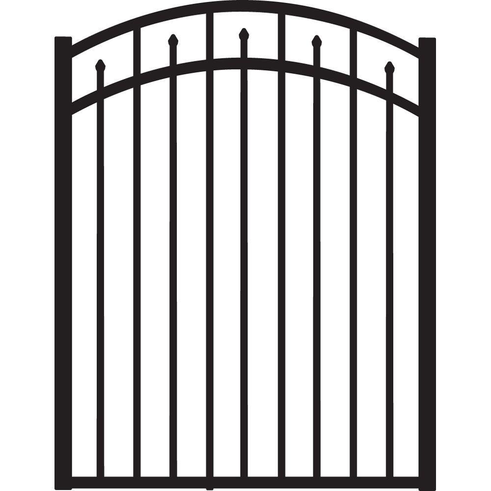 Brilliance 4 ft. W x 4.5 ft. H Black Heavy-Duty Aluminum Arched Pre-Assembled Fence Gate
