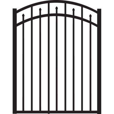 Brilliance 4 ft. W x 4.5 ft. H Black Heavy-Duty Aluminum Arched Pre-Assembled Fence Gate
