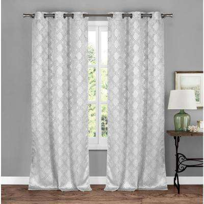 Brylee 38 in. W x 84 in. L Polyester Window Panel in White-Silver