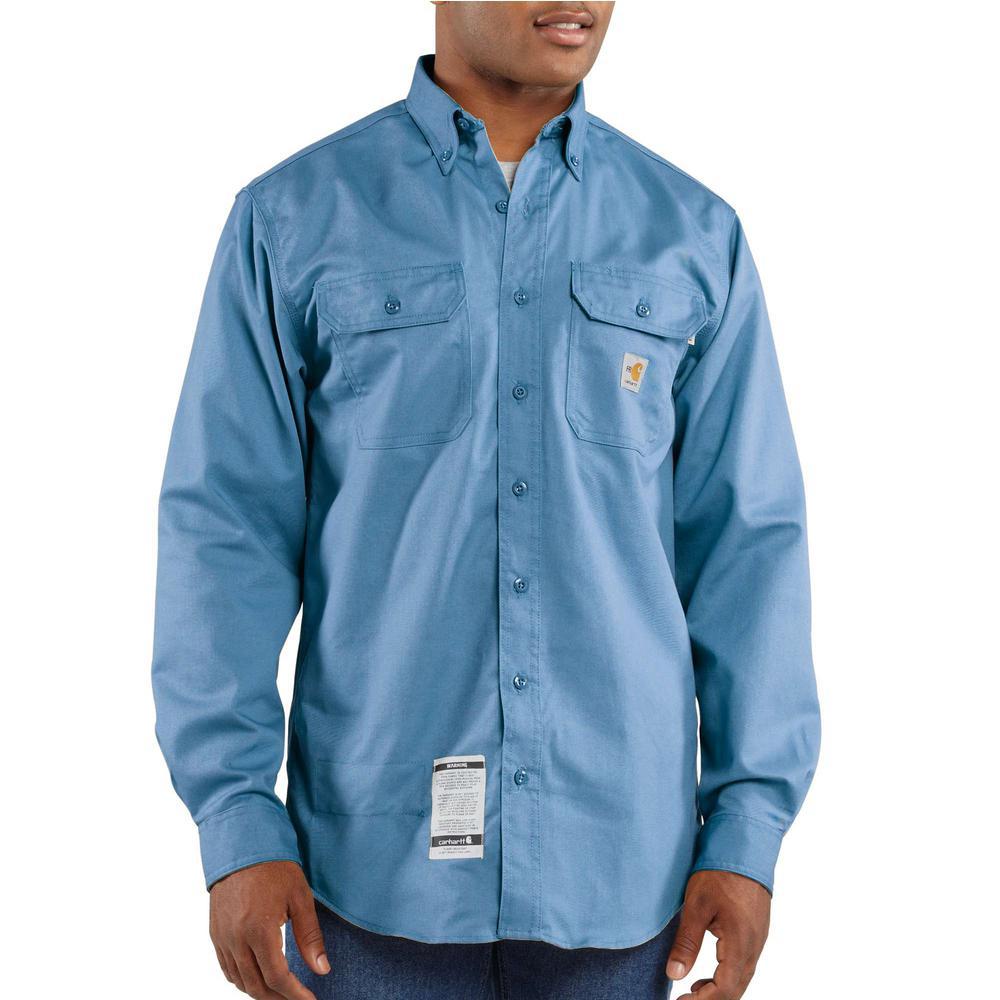 a0a56d50bde3 Carhartt Men s Tall Large Medium Blue FR Classic Twill Long Sleeve ...