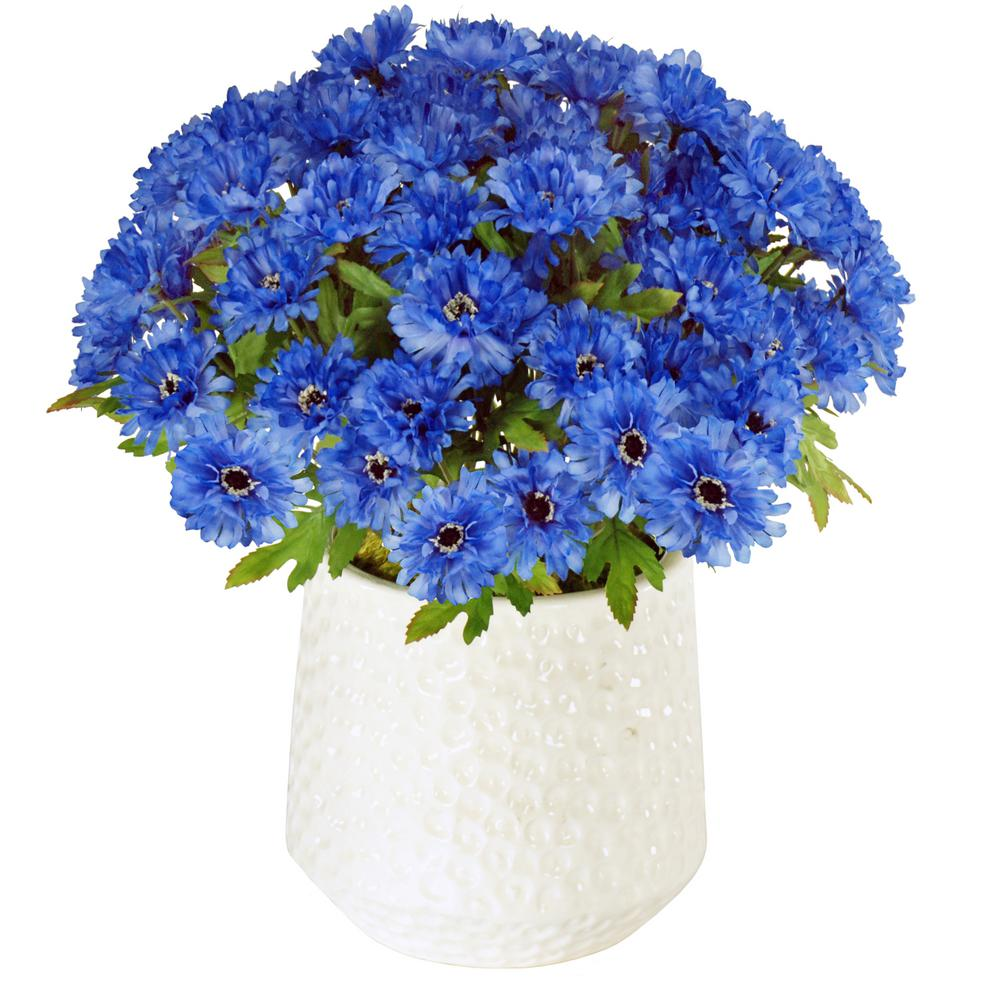 Cornflowers 15 in. Tall Ceramic Cache Pot in White/Blue Flowers ...