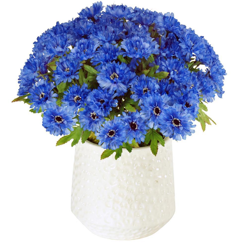Cornflowers 15 in. Tall Ceramic Cache Pot in White/Blue Flowers