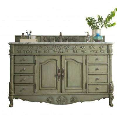St. James 60 in. W Single Vanity in Celadon with Marble Vanity Top in Carrara White with White Basin