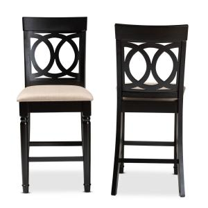 Verina 43 in. Sand and Espresso Counter Stool (Set of 2)