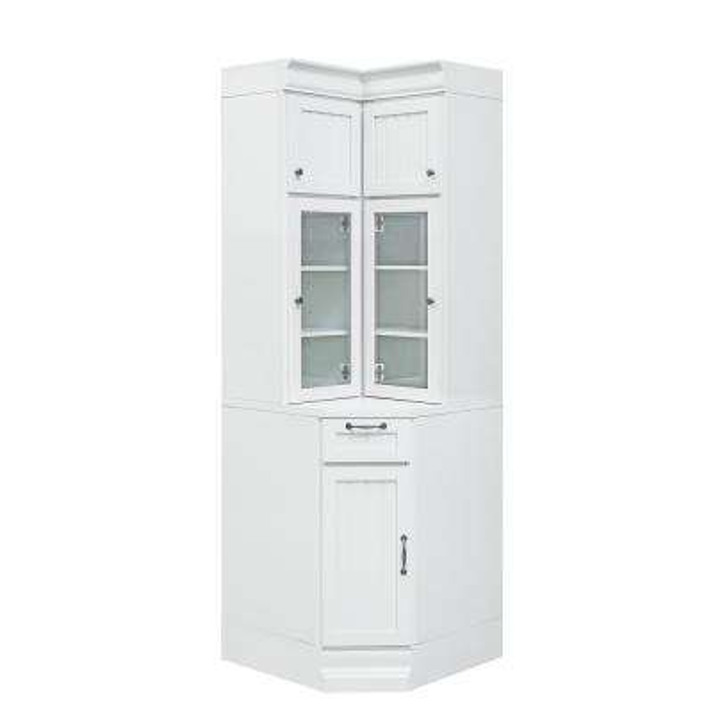 Martingale True White Beadboard Modular Corner Storage Cabinet