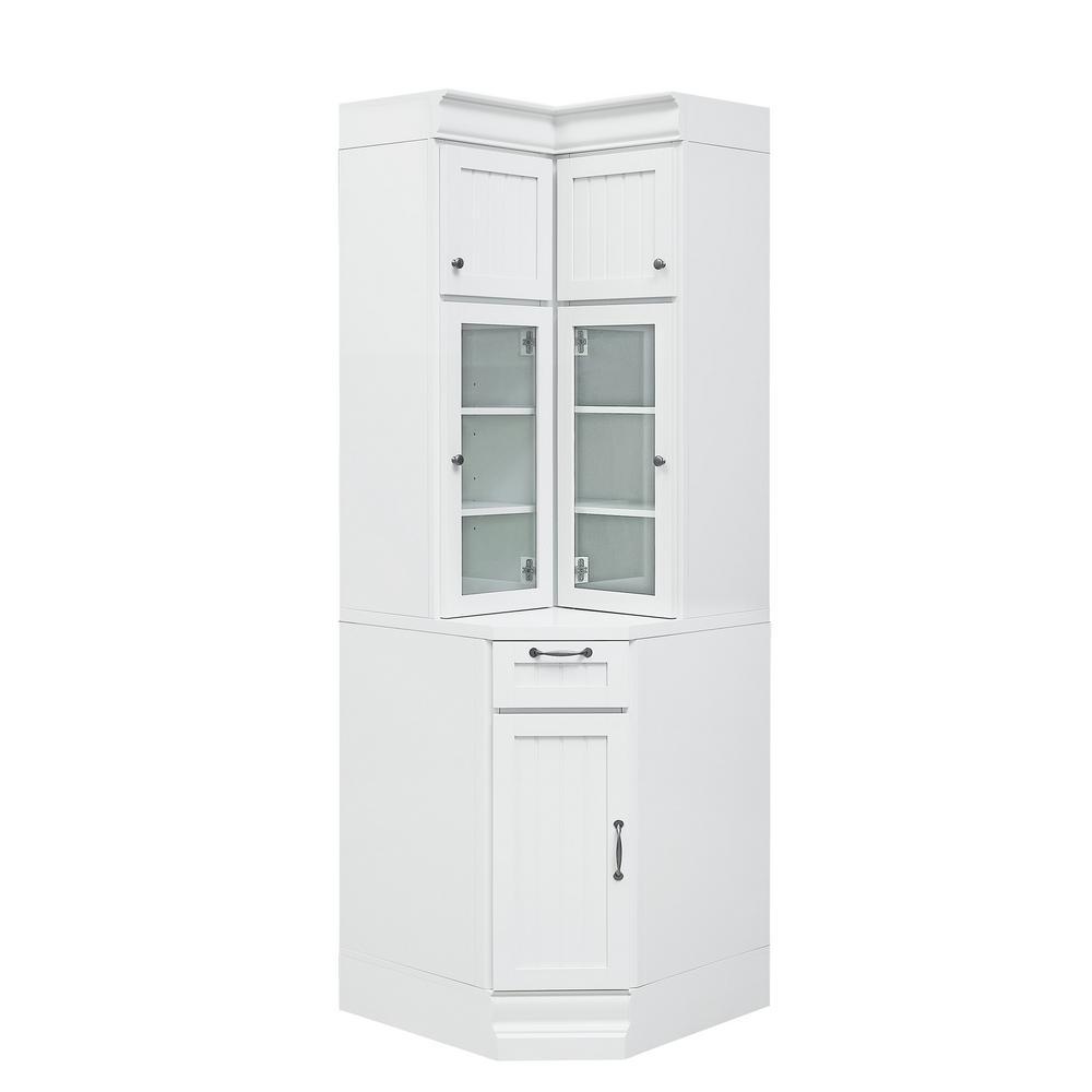 Martingale Ture White Beadboard Modular Corner Storage Cabinet