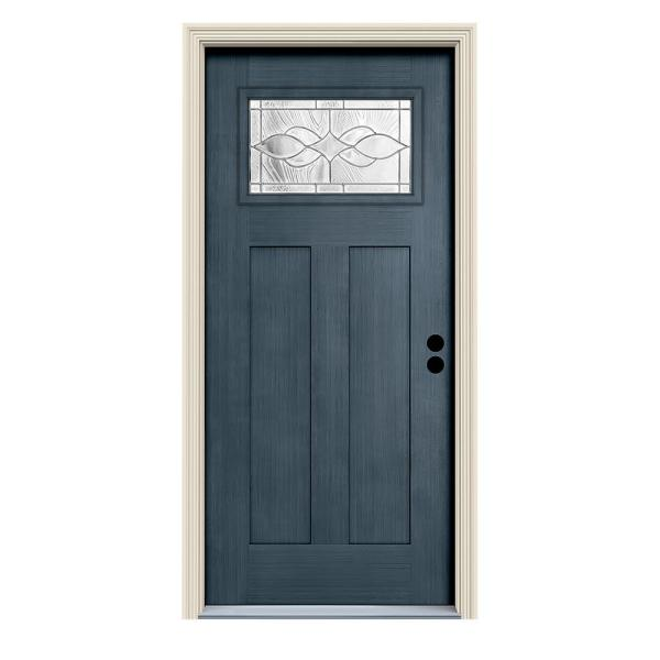 Jeld Wen 36 In X 80 In Denim Left Hand 1 Lite Craftsman Carillon Stained Fiberglass Prehung Front Door With Brickmould Thdjw224900007 The Home Depot