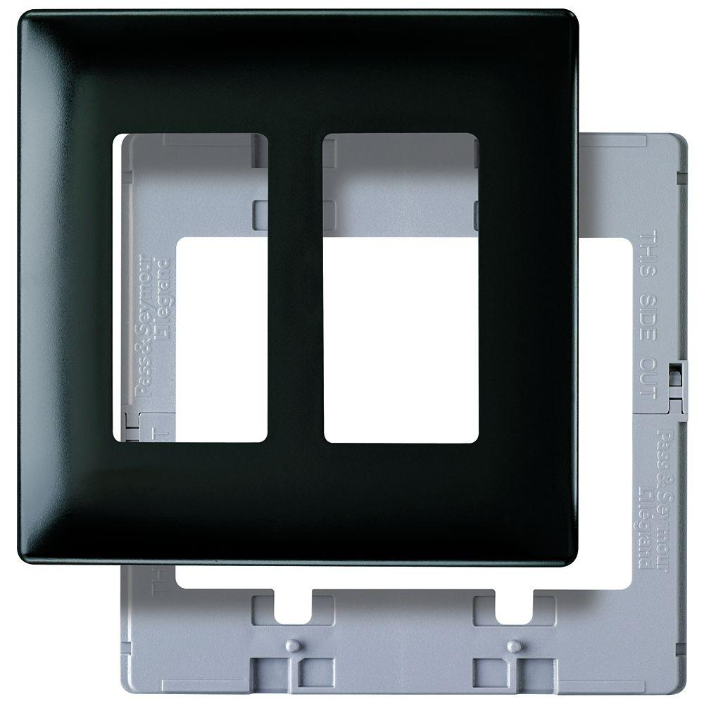 Pass & Seymour 2 Gang 2 Decorator Opening Screwless Wall Plate - Black