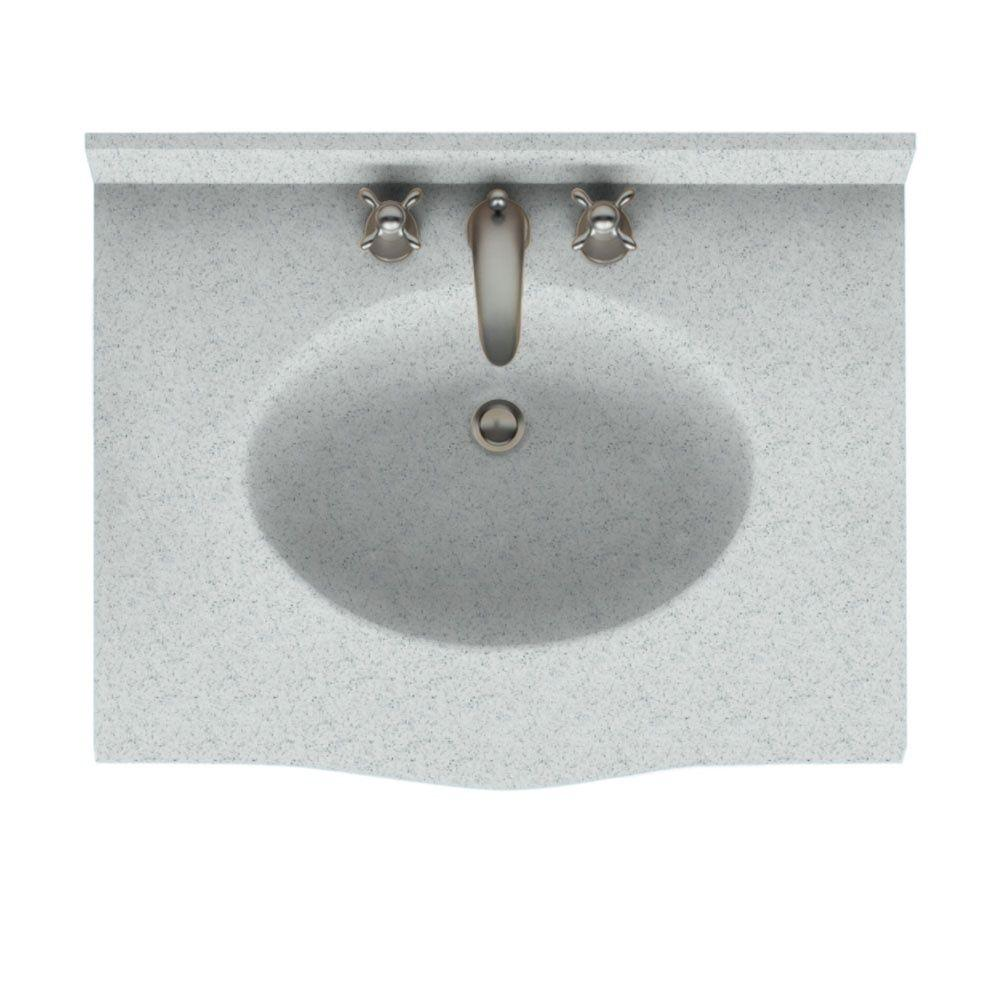 Swan Europa 31 in. Solid Surface Vanity Top with Basin in Tahiti Gray-DISCONTINUED