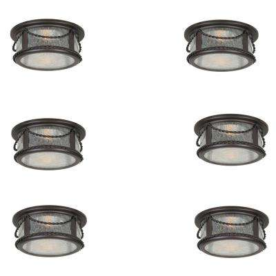 4 in. Oil Rubbed Bronze Recessed Deco Trim with Seeded Glass Shade