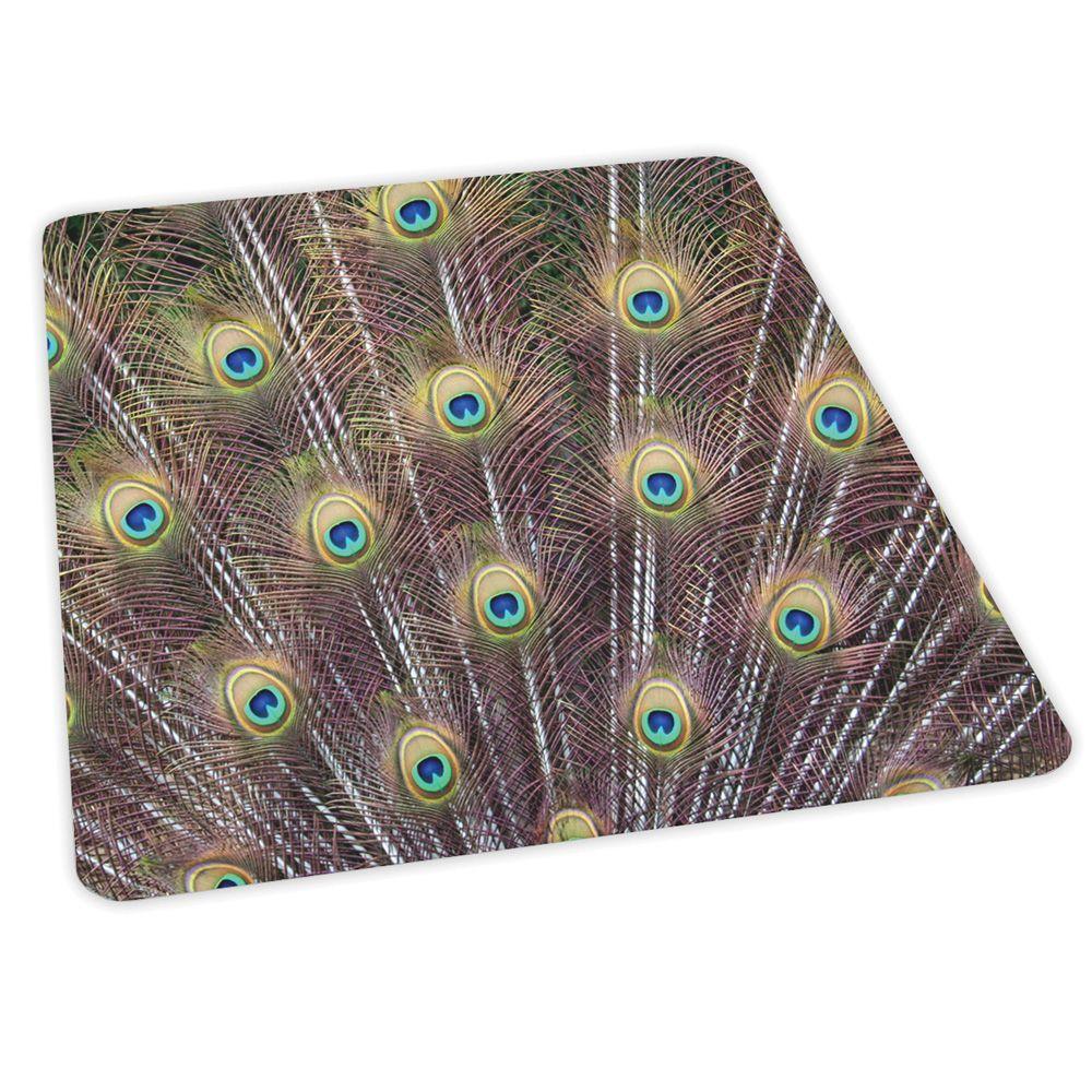 ES Robbins Design Peacock Print 36 in. x 48 in. Carpet Vinyl Chair Mat