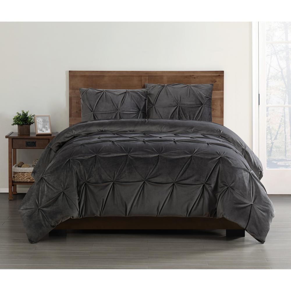 Everyday Pleated Velvet Grey King Comforter Set