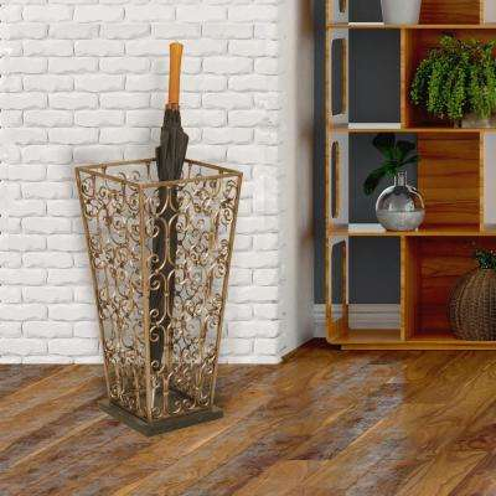 Scrolled Copper Metal Umbrella Stand