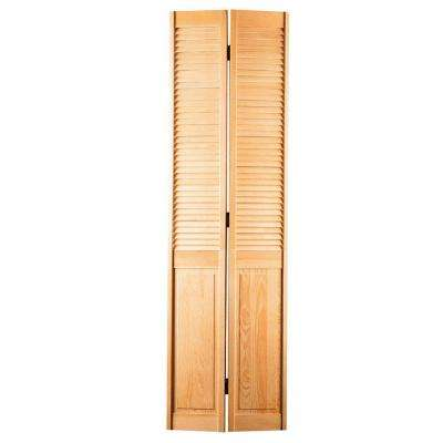 24 in. x 80 in. Half-louvered Hollow-Core Smooth Unfinished Pine Bi-fold Door