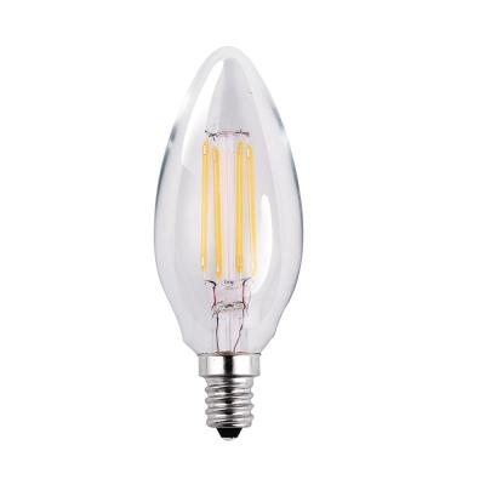 60-Watt Equivalent 5-Watt B11 Dimmable LED Clear Filament Antique Vintage Chandelier Light Bulb Warm White