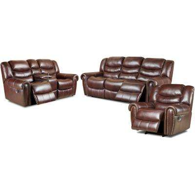 Lancaster 3-Piece Burgundy Sofa, Loveseat, Recliner Living Set