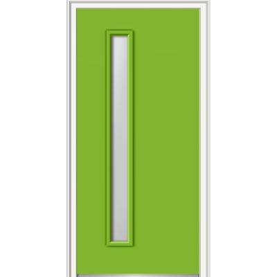 30 in. x 80 in. Viola Right-Hand Inswing 1-Lite Frosted Midcentury Painted Fiberglass Smooth Prehung Front Door