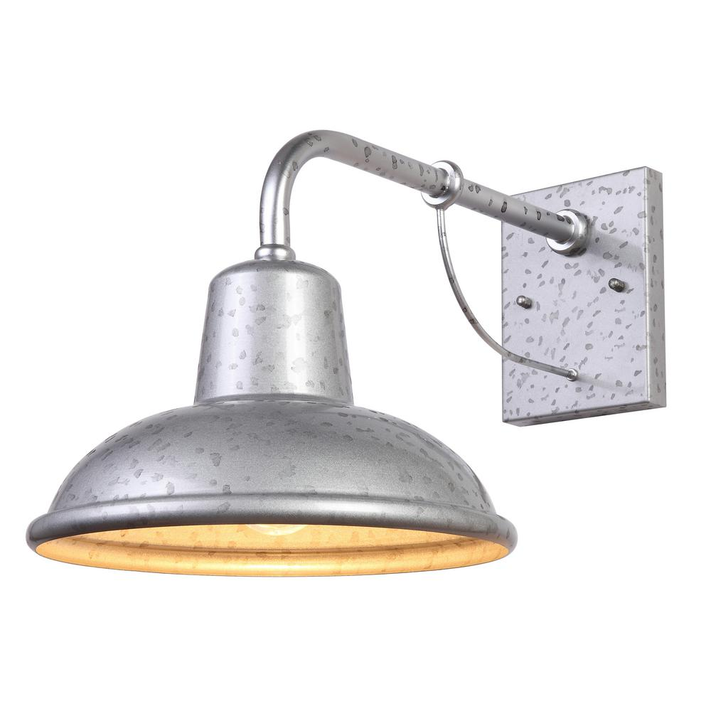 Y Decor Tanner 1-Light Galvanized finish Outdoor Wall ... on Outdoor Wall Sconce Lighting id=37759