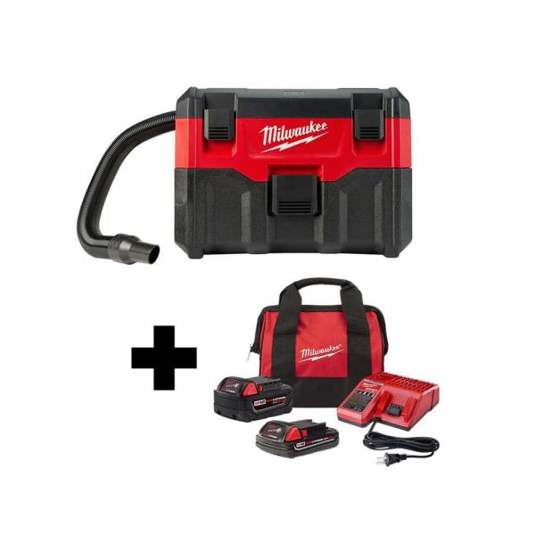 Milwaukee M18 18-Volt 2 Gal. Lithium-Ion Cordless Wet/Dry Vac with 5.0 Ah and 2.0 Ah Battery & Charger