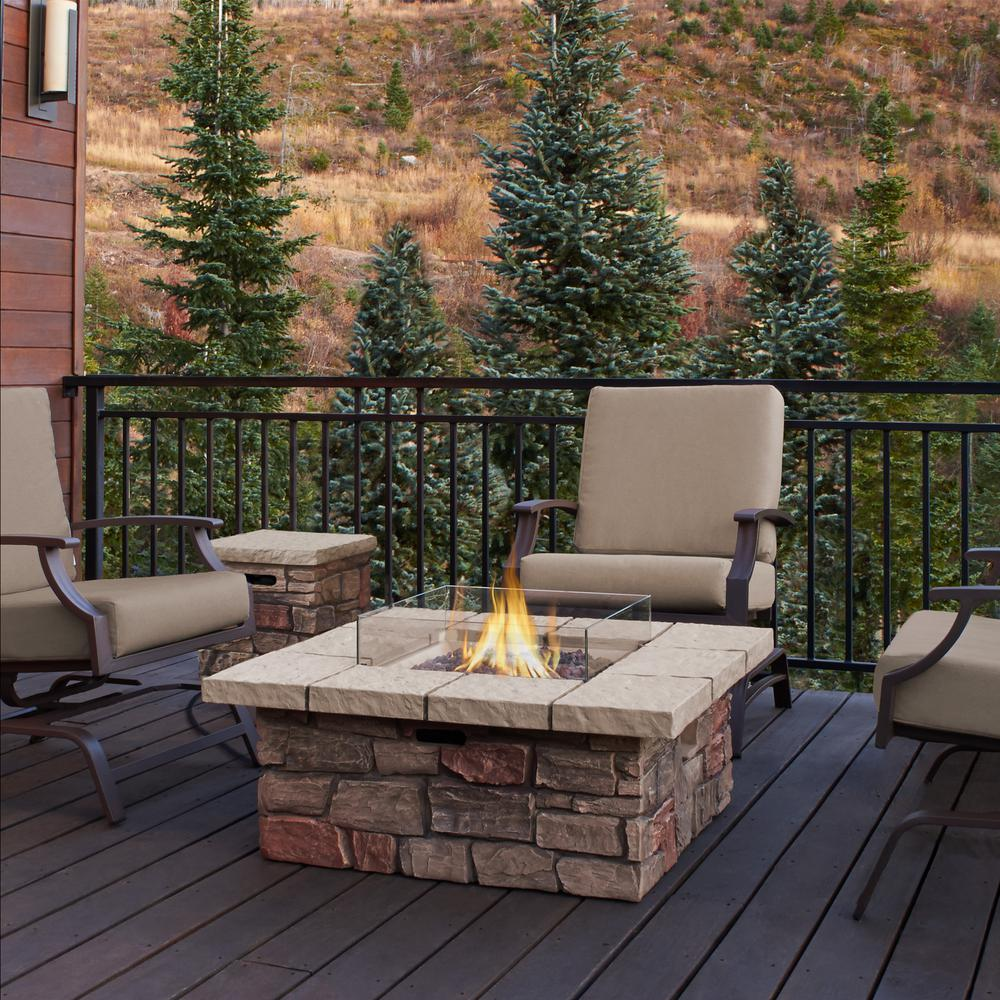 Real Flame Sedona 38 In X 19 In Square Fiber Concrete