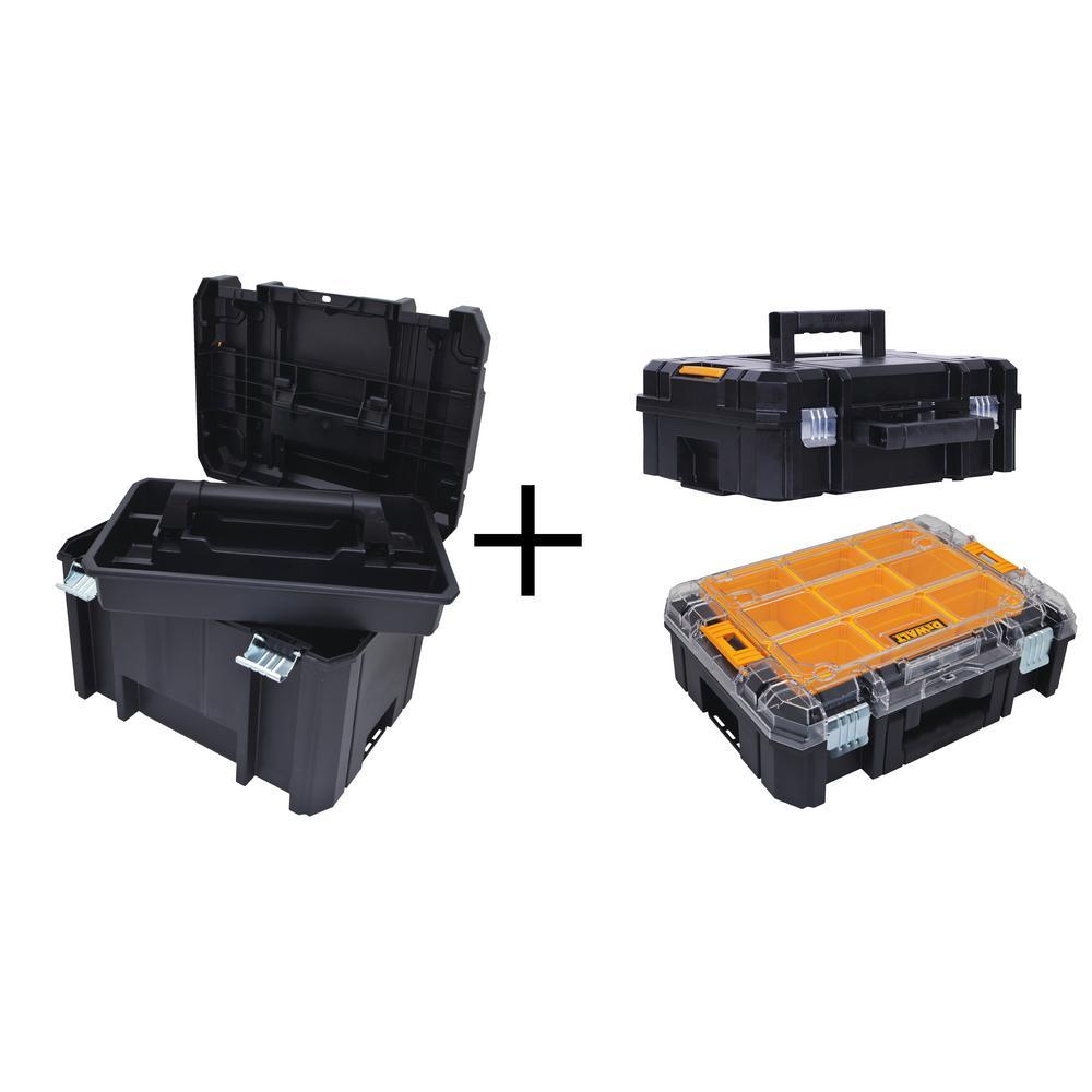 TSTAK VI 17 in. Deep Tool Box, TSTAK II Deep Tool Box and TSTAK V Small Parts Organizer Combo Set (3 Components)