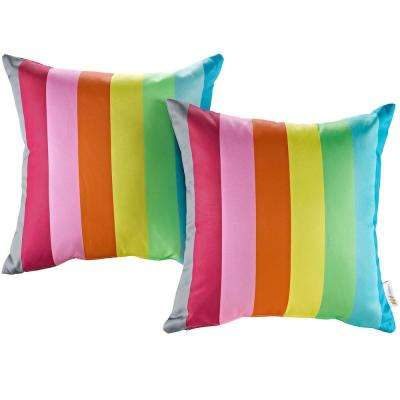 Patio Square Outdoor Throw Pillow Set in Rainbow (2-Piece)