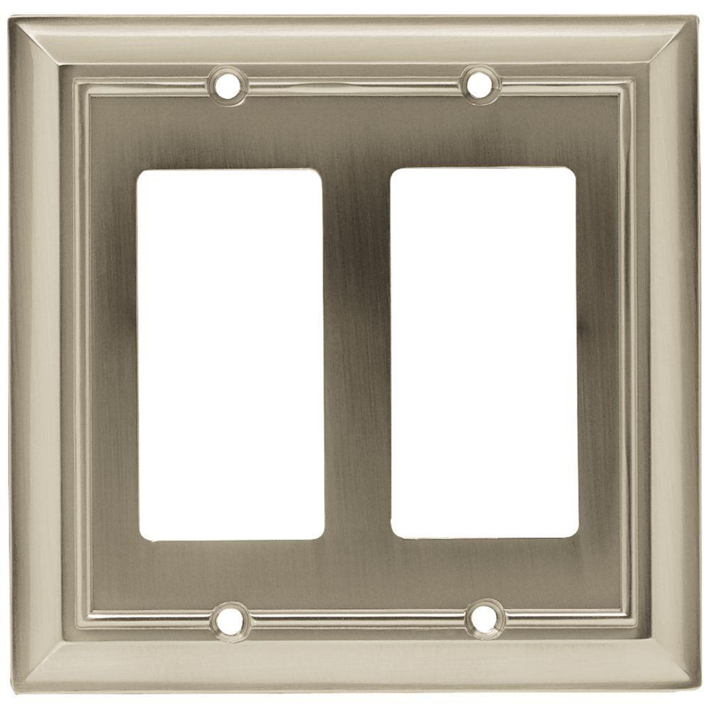 Architectural Decorative Double Rocker Switch Plate, Satin Nickel