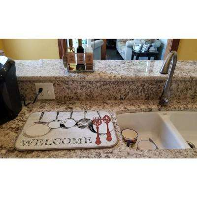 14 in. x 21 in. Multicolor Pots and Pans Welcome Dish Drying Mat