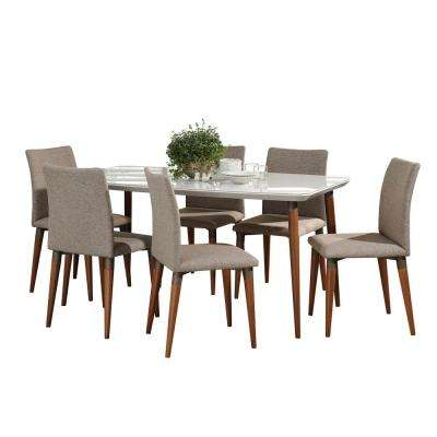 Charles 62.99 in. 7-Piece White Gloss and Grey Dining Set
