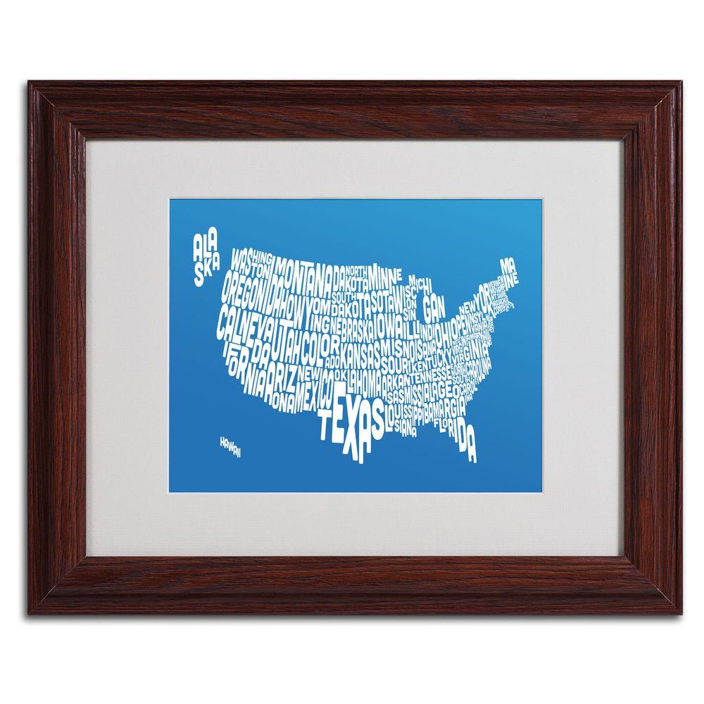 11 in. x 14 in. USA States Text Map - Summer