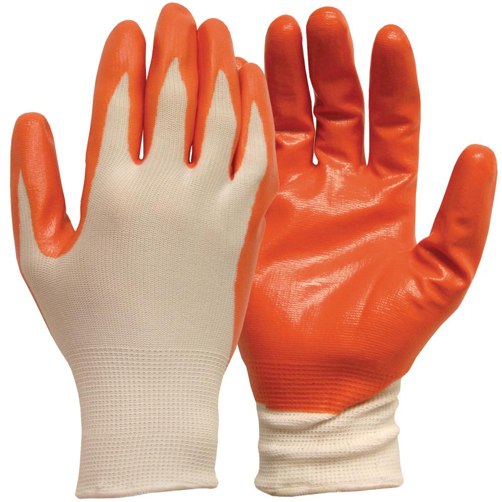 X-Large White with Orange Nitrile Coated General Purpose Glove (5-Pair)