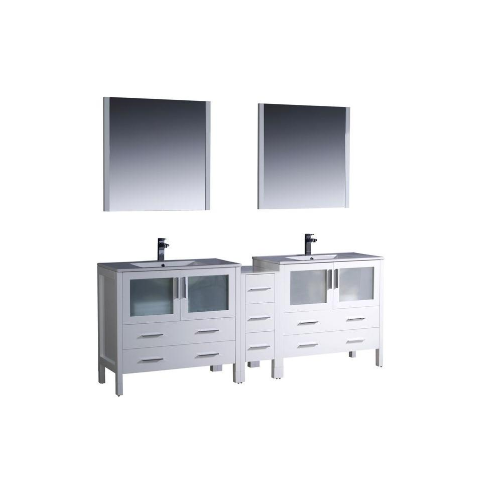 Fresca Torino 84 in. Double Vanity in White with Ceramic Vanity Top in White with White Basins and Mirrors