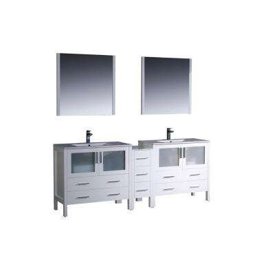 Torino 84 in. Double Vanity in White with Ceramic Vanity Top in White with White Basins and Mirrors