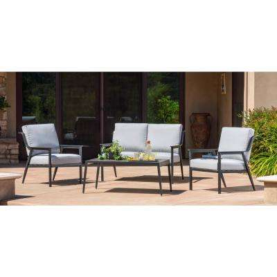 Lemoore 4-Piece Metal Patio Deep Seating Set with Artic Grey Cushions