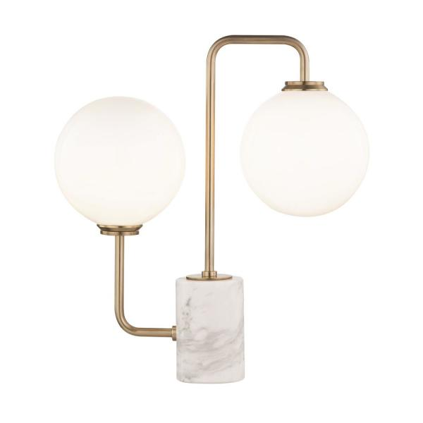 Mia 17.25 in. Aged Brass LED Table Lamp with Opal Etched Glass