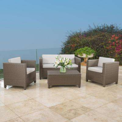 Maverick Brown 4-Piece Wicker Patio Seating Set with Ceramic Grey Cushions and Beige Set Cover
