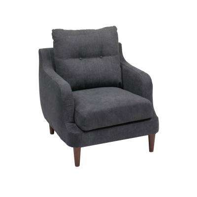 Victoria Navy Blue Fabric Accent Chair With Sloped Armrests