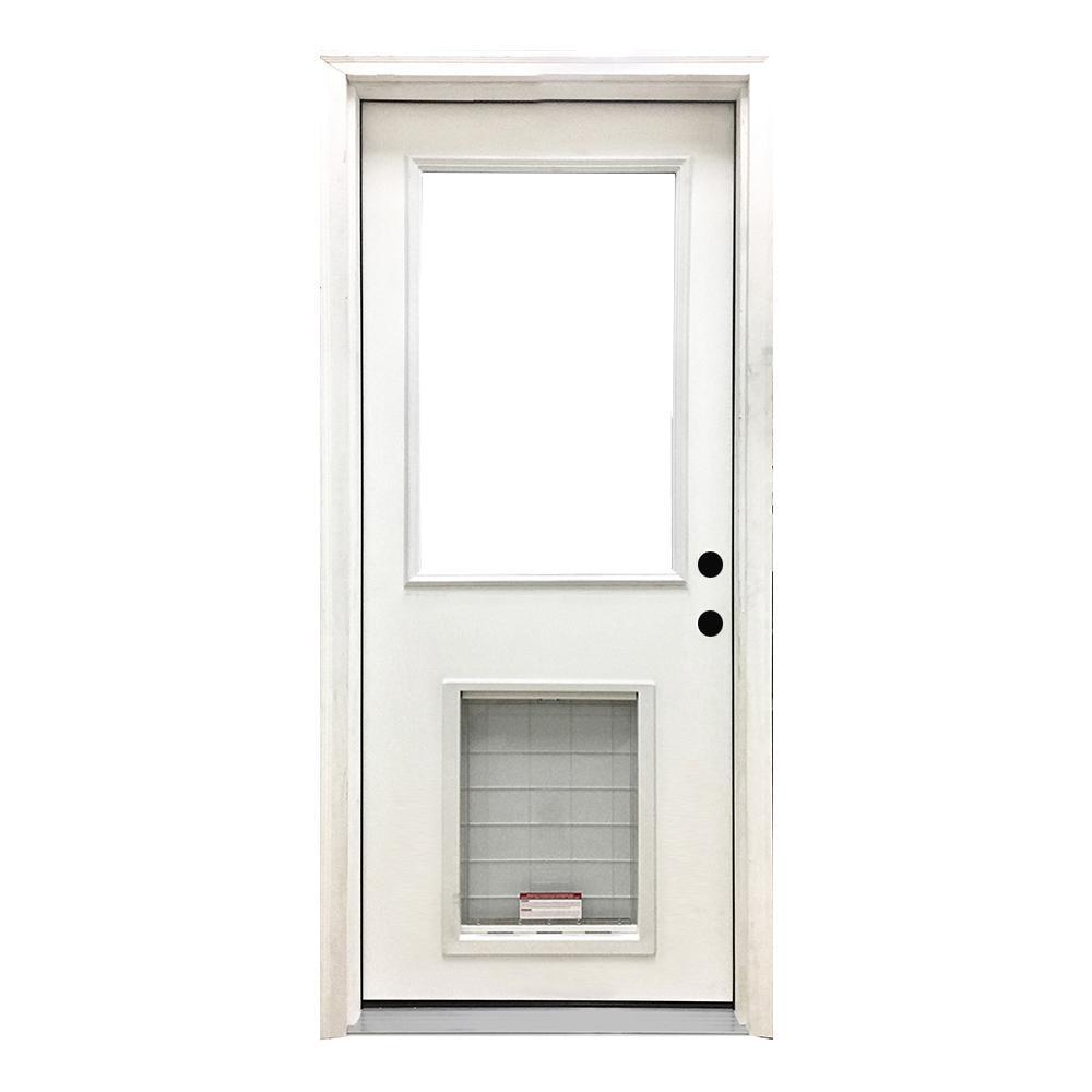 32 in. x 80 in. Classic Clear Half Lite LHIS White Primed Fiberglass Prehung Front Door with SL Pet Door