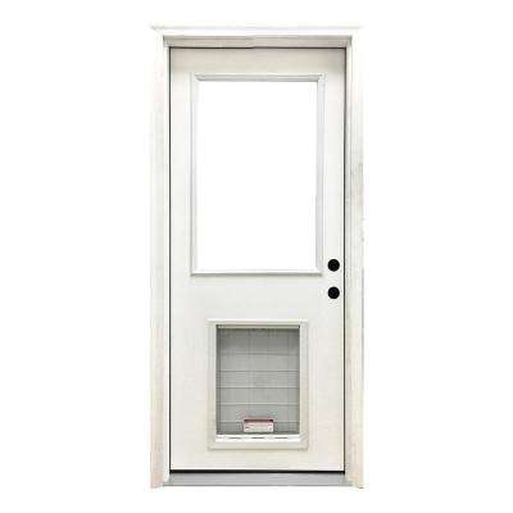 36 in. x 80 in. Classic Half Lite LHIS White Primed Textured Fiberglass Prehung Front Door with SL Pet Door