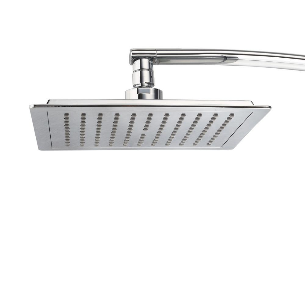 1-Spray 9 in. Square Fixed Shower Head with 15 in. Extension