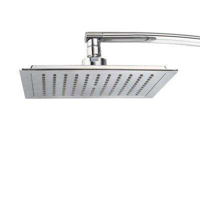 1-Spray 9 in. Square Fixed Shower Head with 15 in. Extension Arm in Chrome