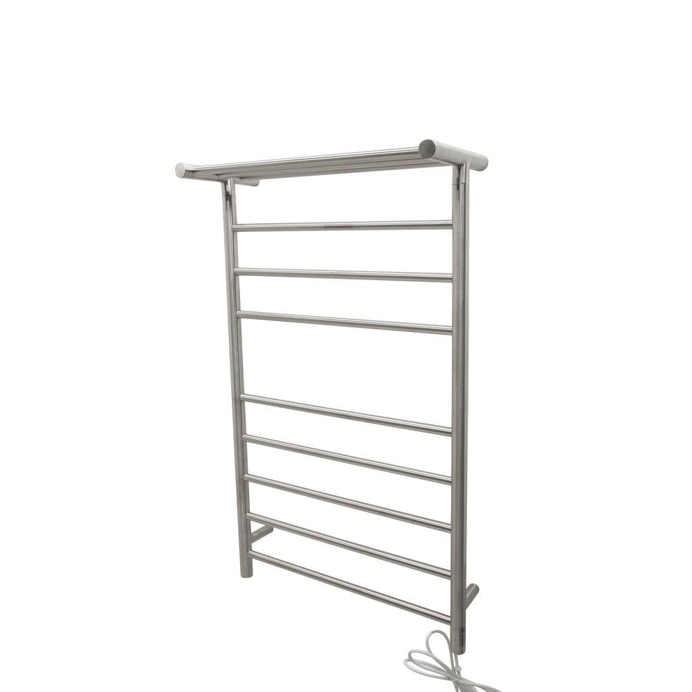 towel warmer rack. ANZZI Eve 8-Bar Stainless Steel Wall Mounted Electric Towel Warmer Rack In Brushed Nickel