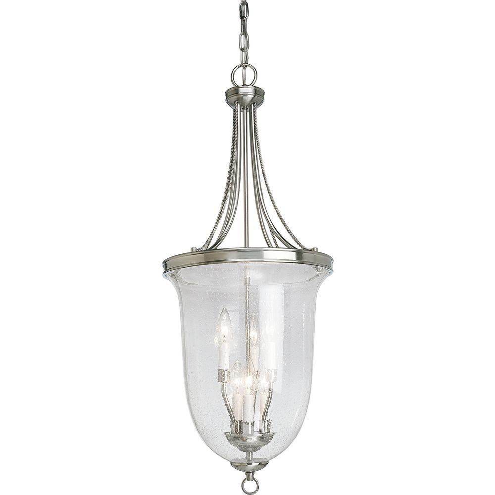 Progress Lighting Seeded Glass Collection 6Light Brushed Nickel