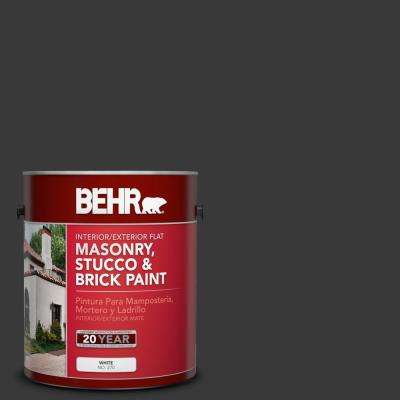 1 gal. #PPF-59 Raven Black Flat Interior/Exterior Masonry, Stucco and Brick Paint