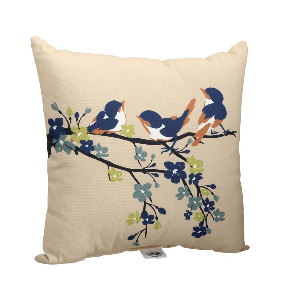 Sand Birds Square Outdoor Throw Pillow