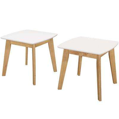 Retro Modern White and Natural End Table (Set of 2)