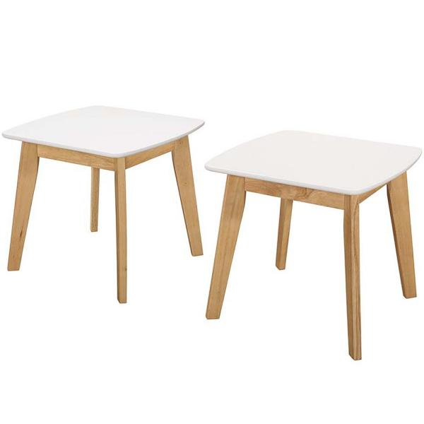 Oak Trendy White Desk Concepts Retro Modern White and Natural End Table (Set of 2)