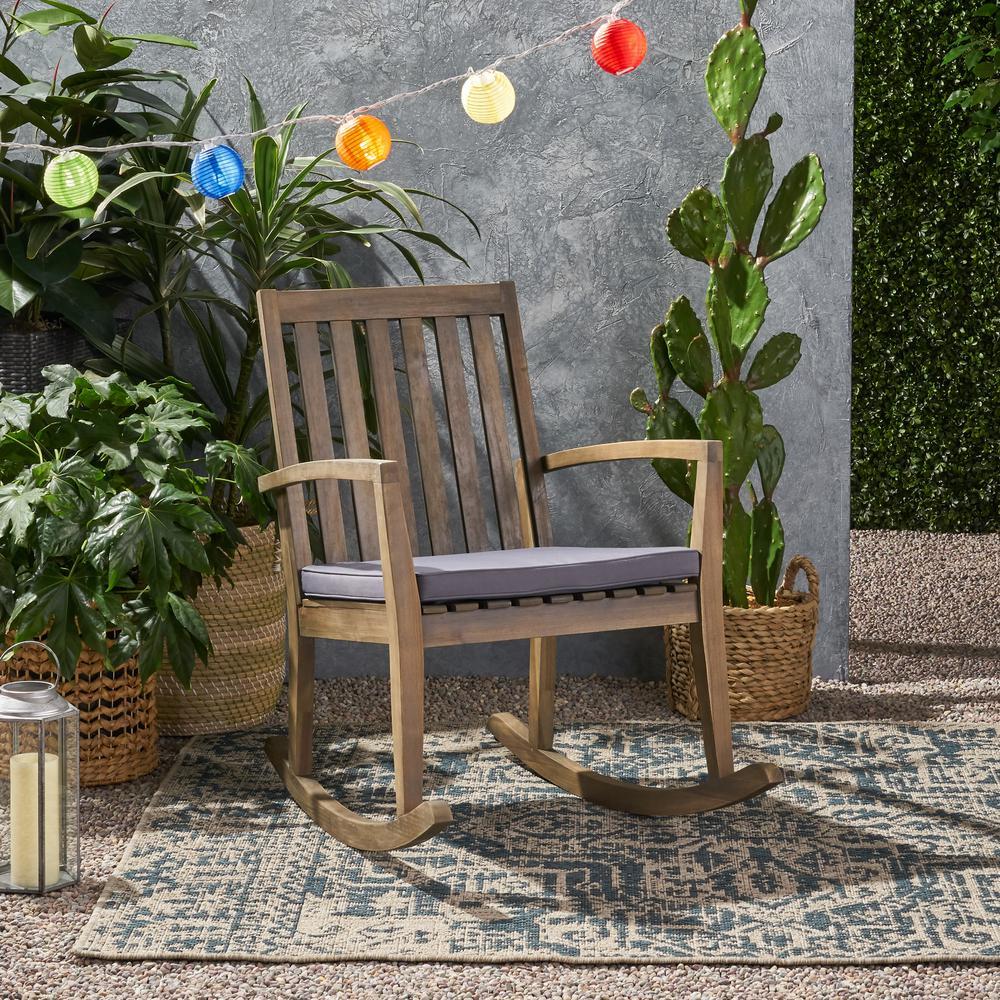 Montrose Grey Acacia Wood Outdoor Patio Rocking Chair with Dark Grey Cushion