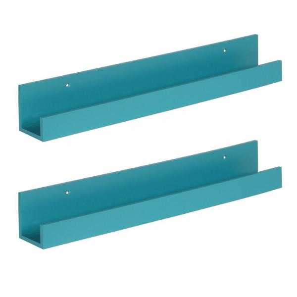 Kate and Laurel Levie 3 in. x 24 in. x 4 in. Teal MDF Decorative Wall Shelf